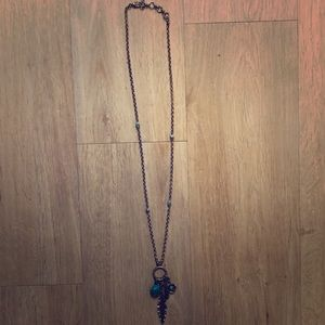 Lucky brand silver and teal long necklace